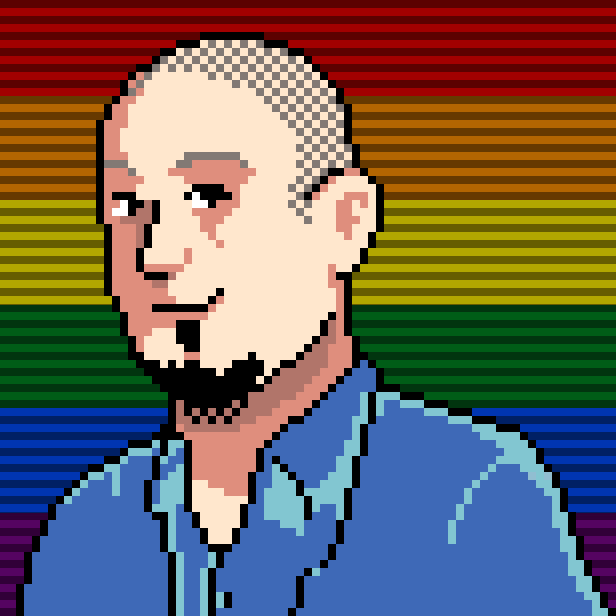 Pixelated drawing of Paul Rocca